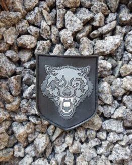 PVC 3D Rubber Patch Wolf schwarz mit Klett