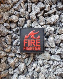 PVC Patch Fire Fighter Feuerwehr schwarz mit Klett