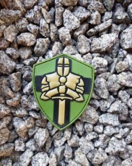 PVC Patch Ritterorden Kreuzritter Crusader Wappen grün mit Klett